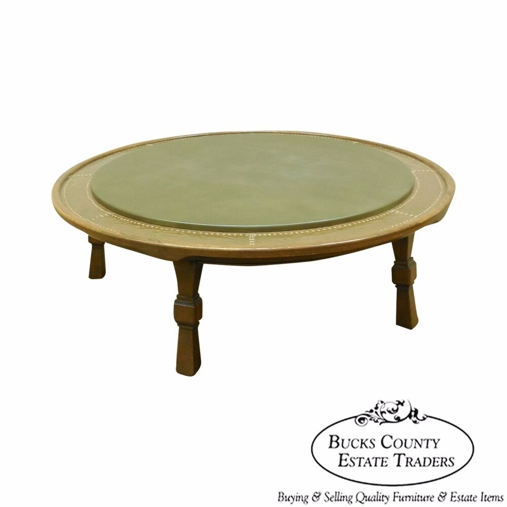 Antique Round Copper Coffee Table: Romweber Viking Oak Round Leather Top Copper Bound Coffee