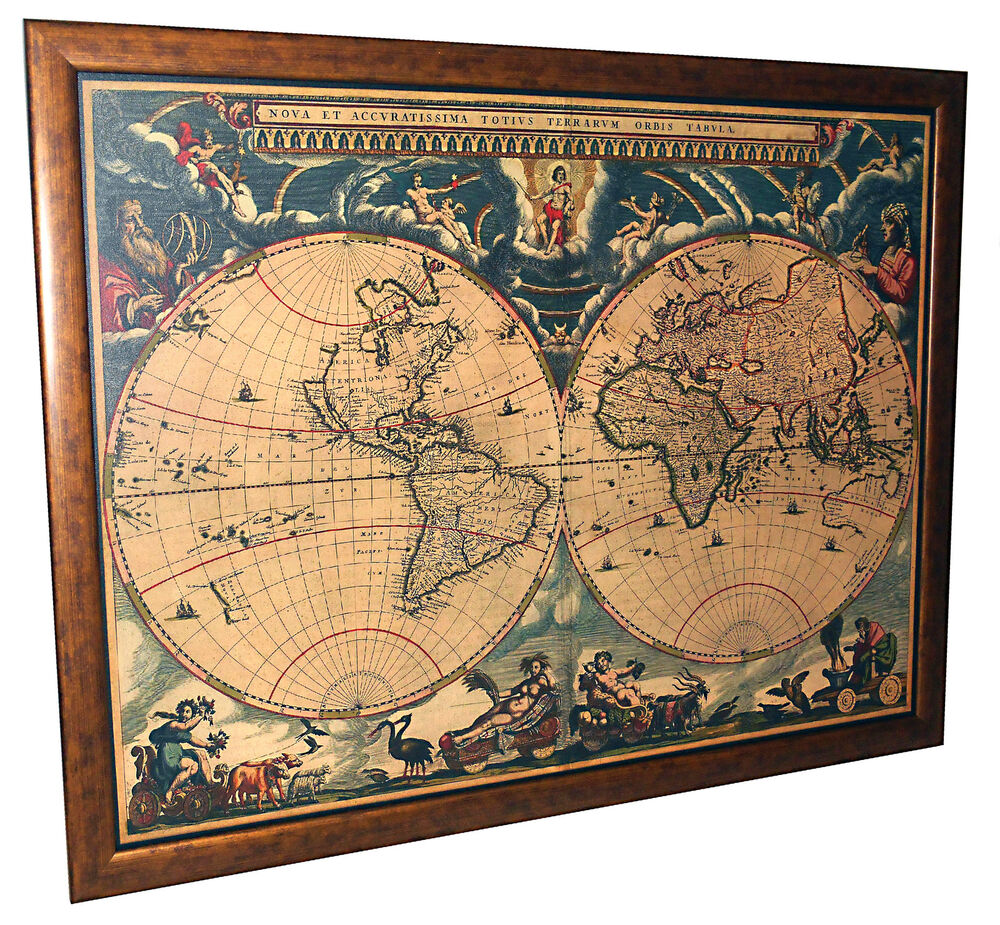 Antique Map: Framed 1662 Antique World Map On Canvas