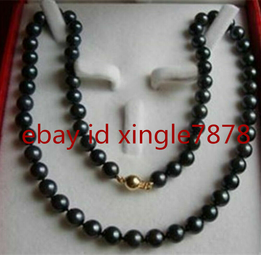 Charming 8 9mm Black Saltwater Cultured Pearl Necklace 20