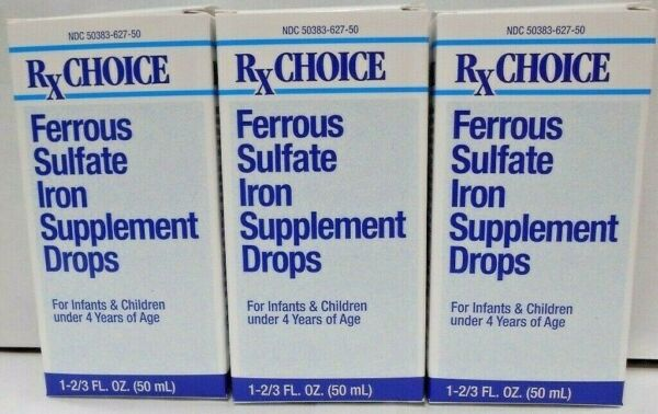 Rx Choice Ferrous Sulfate Iron Drops 50ml- 3 Pack -Expiration Date 03-2020-