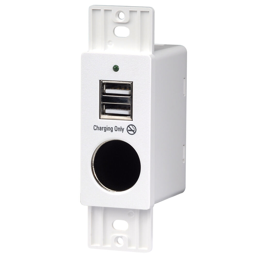 Magnadyne Rv White Wall Mount 2 Usb Charging Ports And 12v