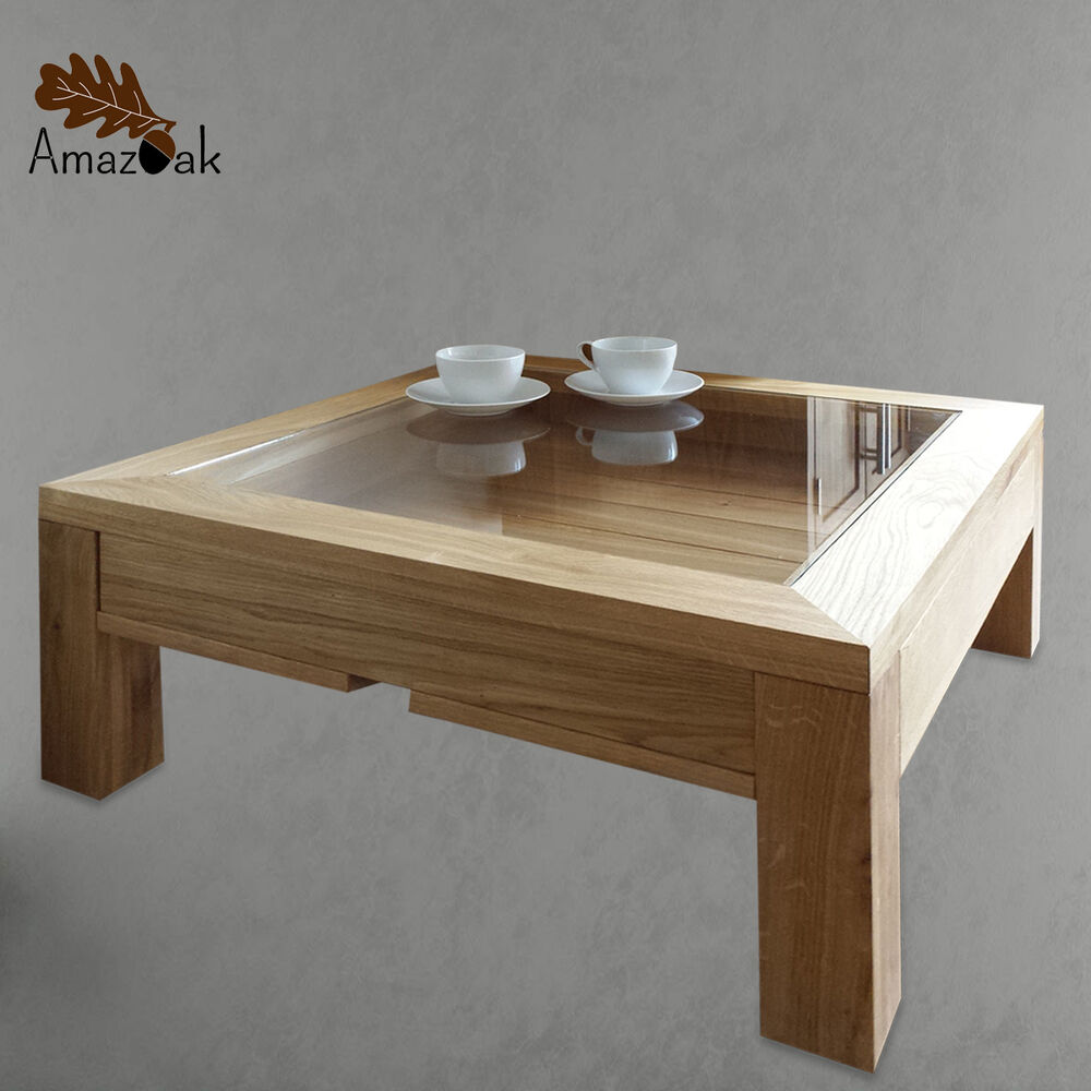 Display coffee table glass wood solid oak modern square uk handmade amazoak 80cm ebay Wood coffee table glass top