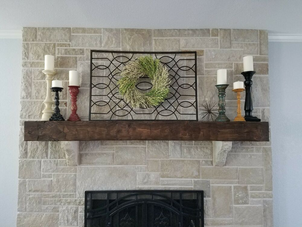Six Foot New Hand Hewn Rustic Barn Beam Style Fireplace