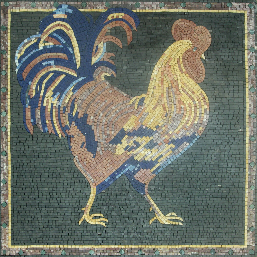Rooster kitchen wall insert square backsplash home decor for Mosaic home decor