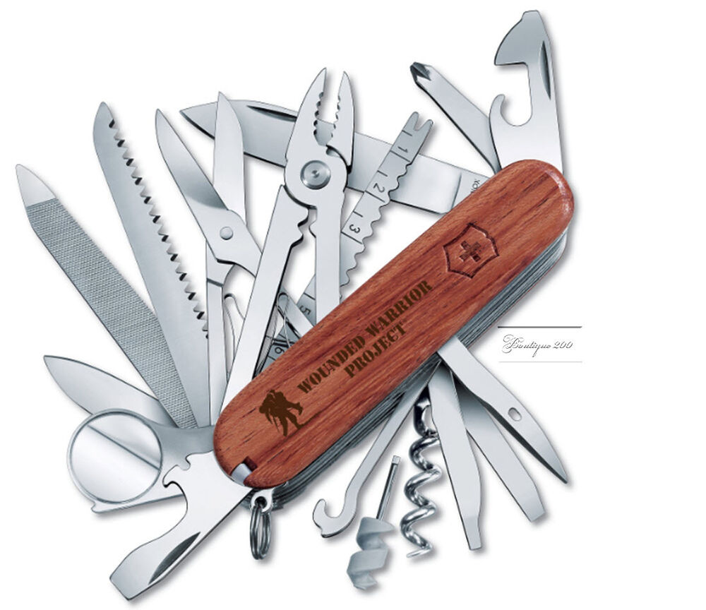 New Victorinox Swiss Army Knife Wounded Warrior Hardwood