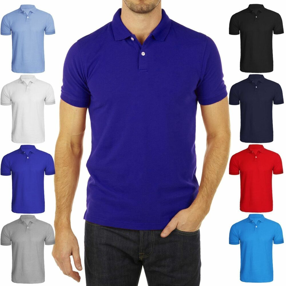 Mens 3 button short sleeved plain collar polo shirt top t for Three button collar shirts