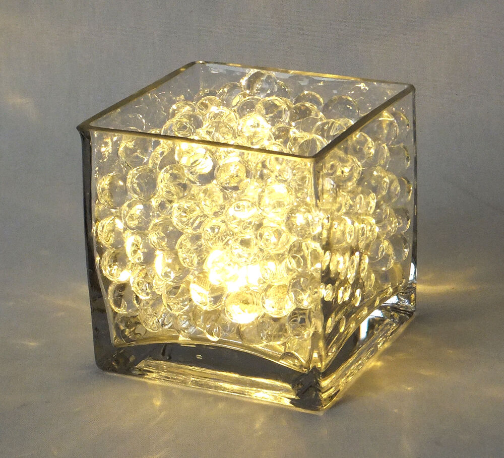 Pack quot square vases bundle with clear beads led lights