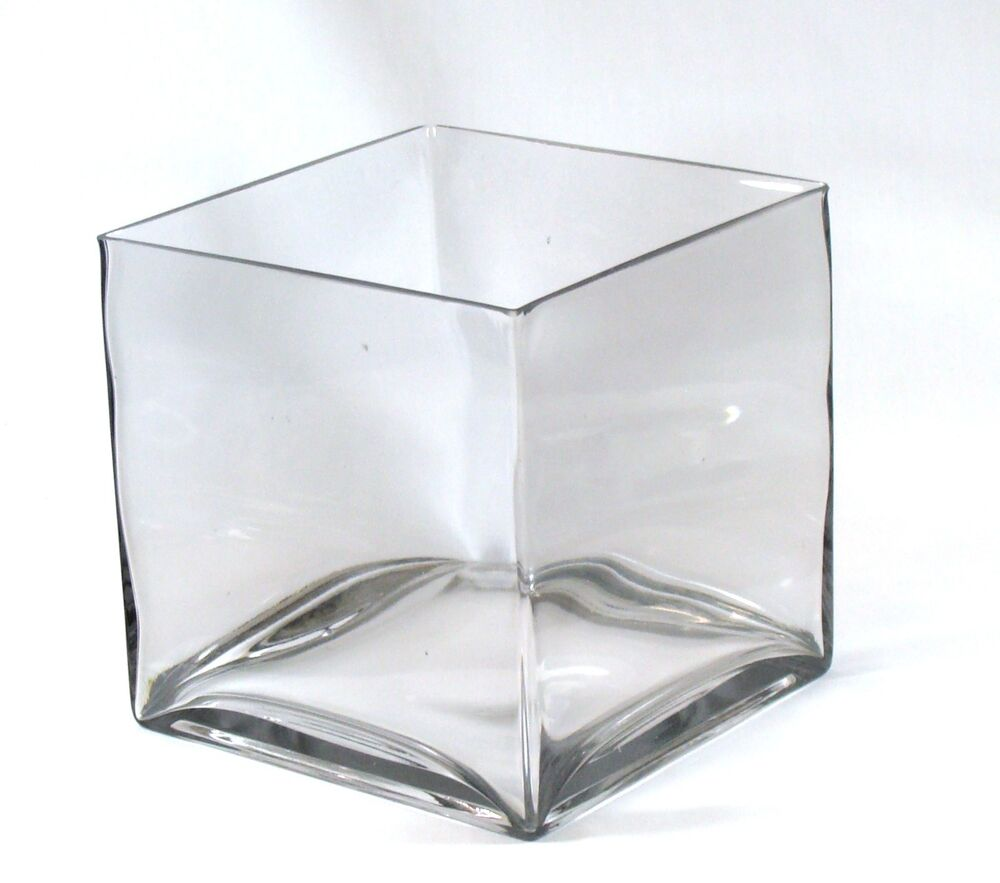 Clear large square glass vase cube inch quot