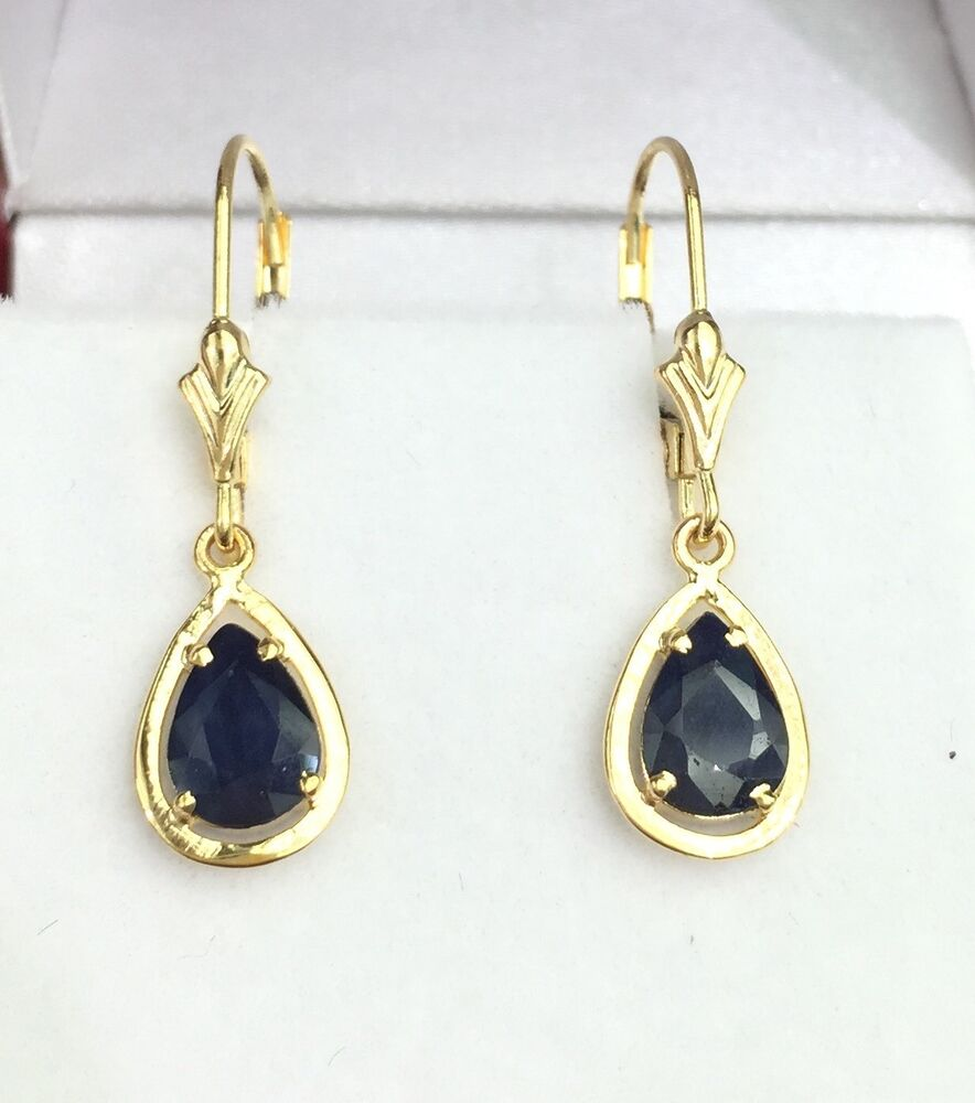 14k solid yellow gold leverback one stones dangle earrings. Black Bedroom Furniture Sets. Home Design Ideas