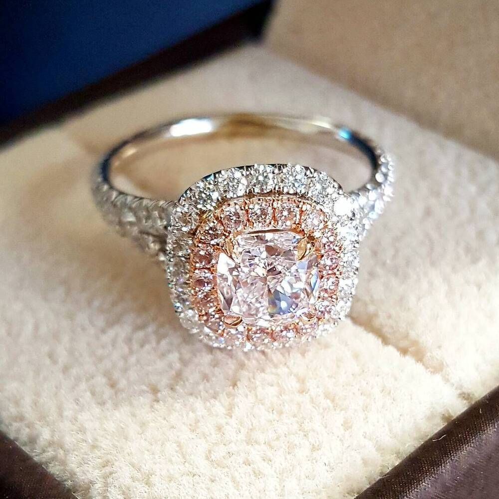 pink diamond wedding ring 1 90 ct halo split shank pink diamonds 6576