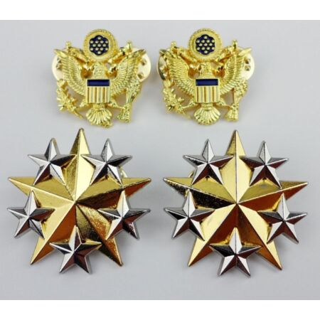 img-SET US ARMY OFFICER SHOULDER SIX STAR RANK INSIGNIA BADGE PIN EAGLE BADGE