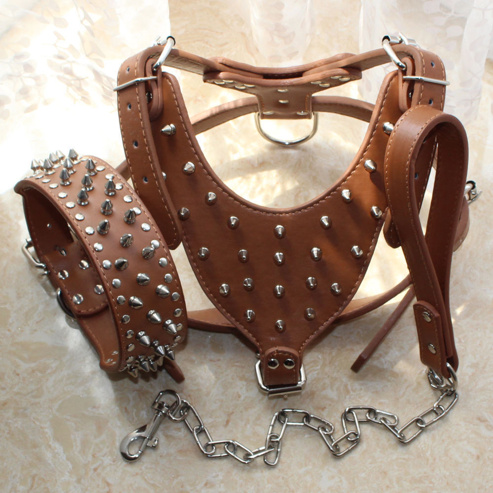 Spiked Studded Brown Leather Dog Harness Collar Leash Set