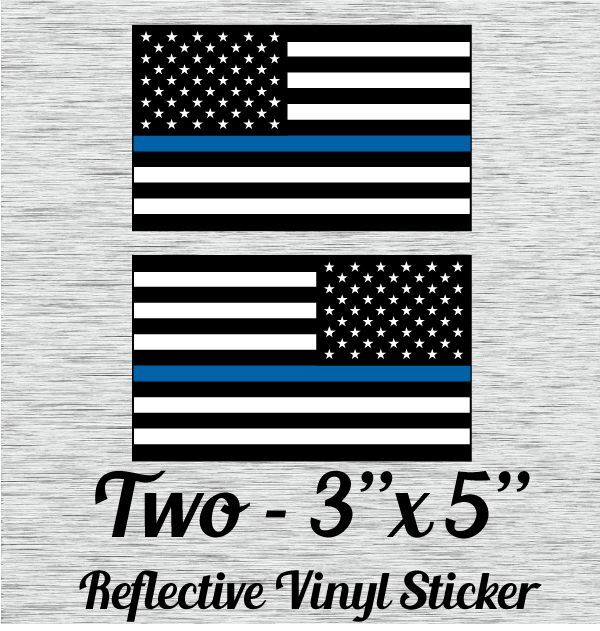 Police Officer Thin Blue Line Reflective American Flag