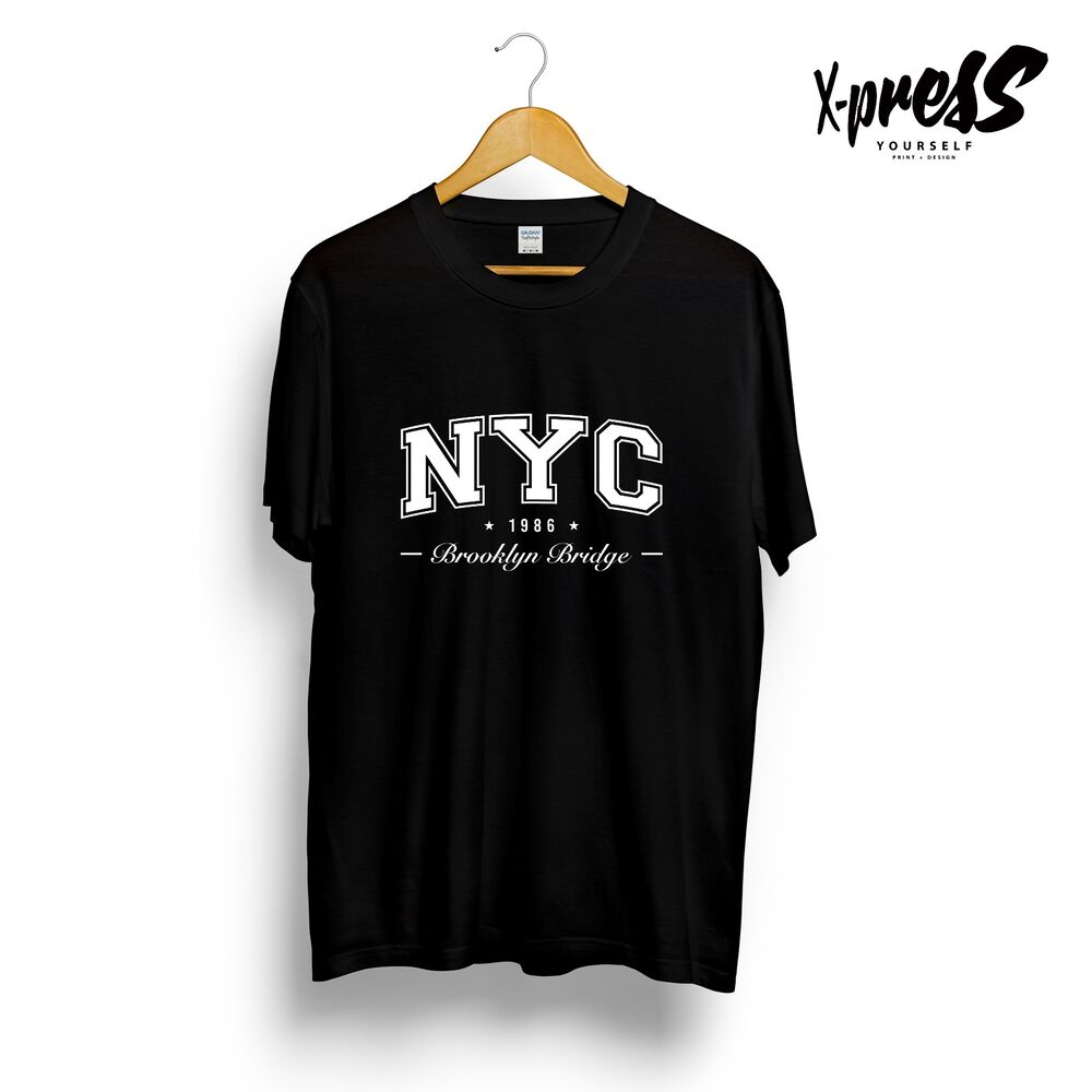 818dc1f1 Details about NYC BROOKLYN BRIDGE 1986 - GRAPHIC PRINT MENS T-SHIRT BLACK  WHITE RED NEW YORK