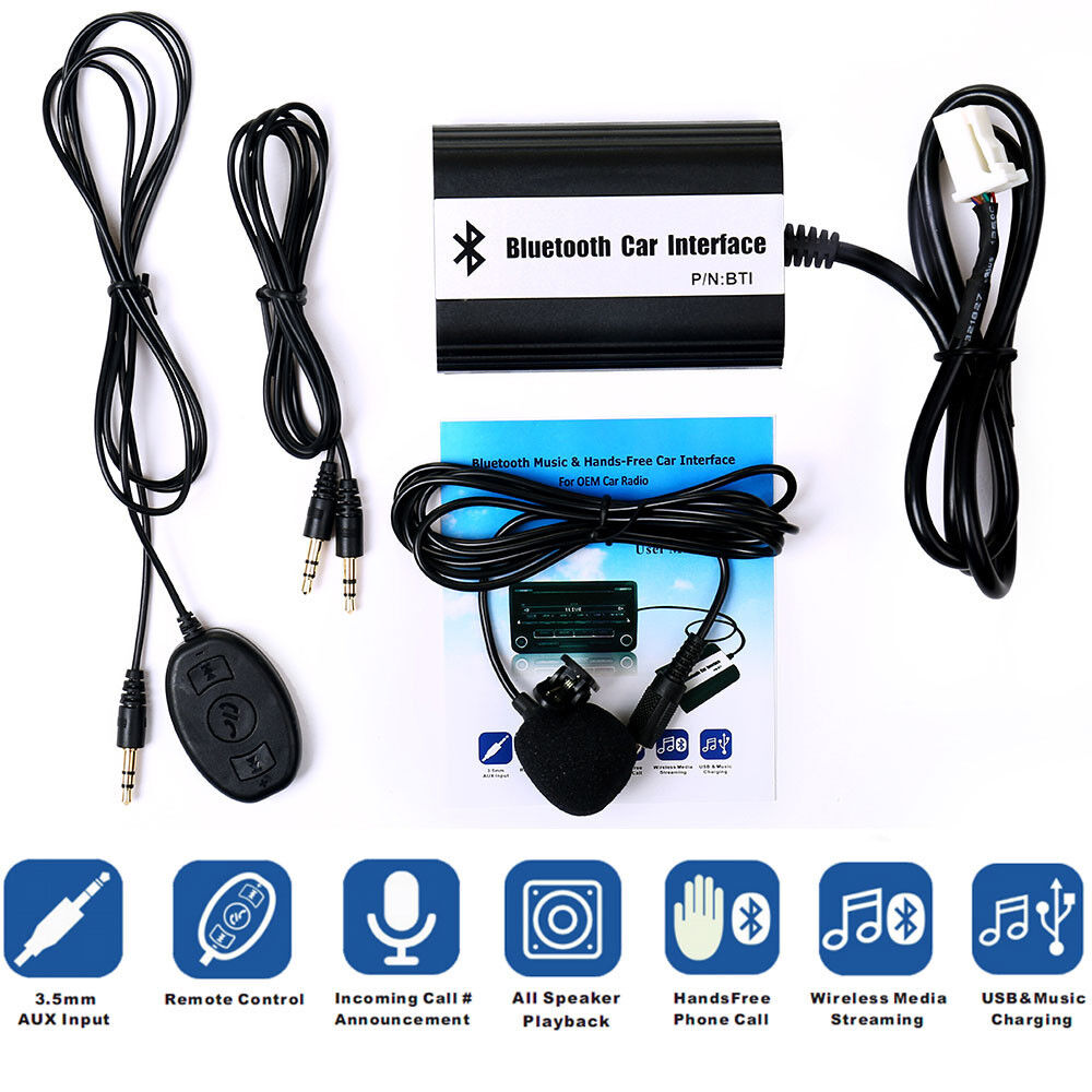 hs bluetooth music hands free car kit cd mp3 aux adapter. Black Bedroom Furniture Sets. Home Design Ideas