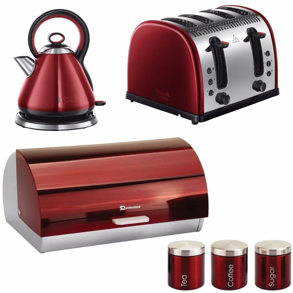 Russell hobbs red kettle 4 slice toaster breadbin 3 for Kitchen set red