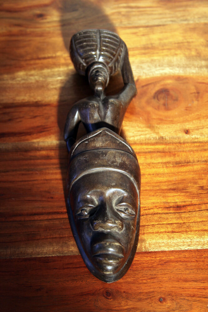 African hand carved wooden sculpture women with basket