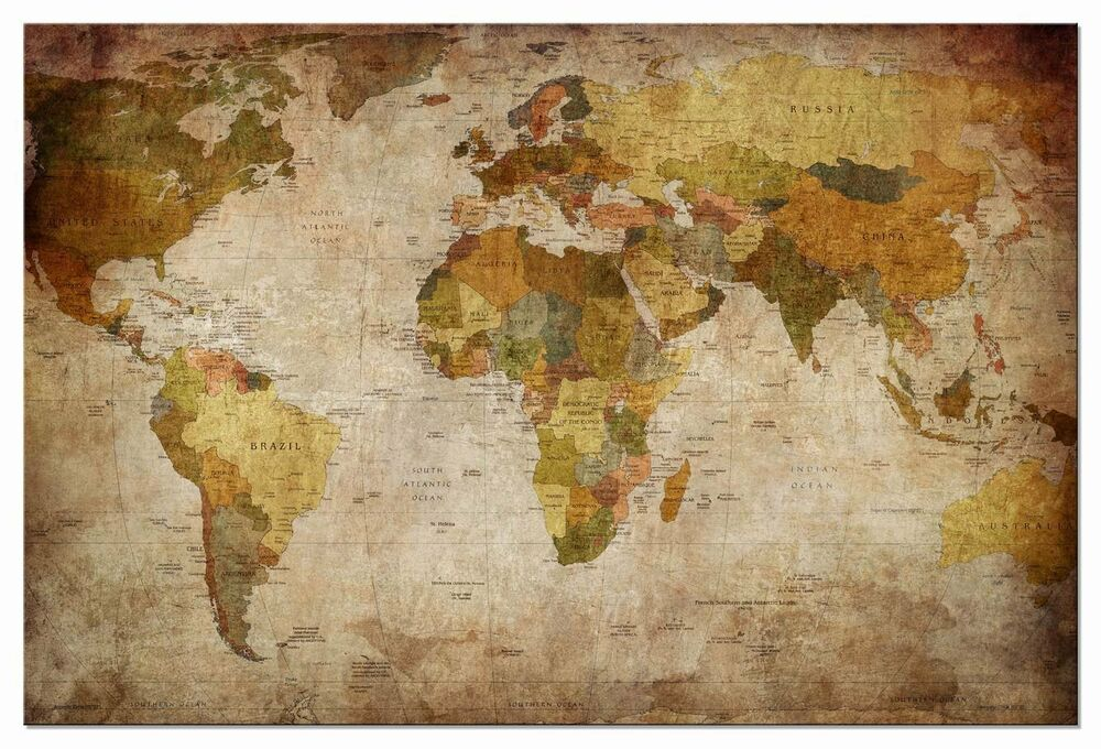 framed antique vintage wall canvas world map globe home. Black Bedroom Furniture Sets. Home Design Ideas