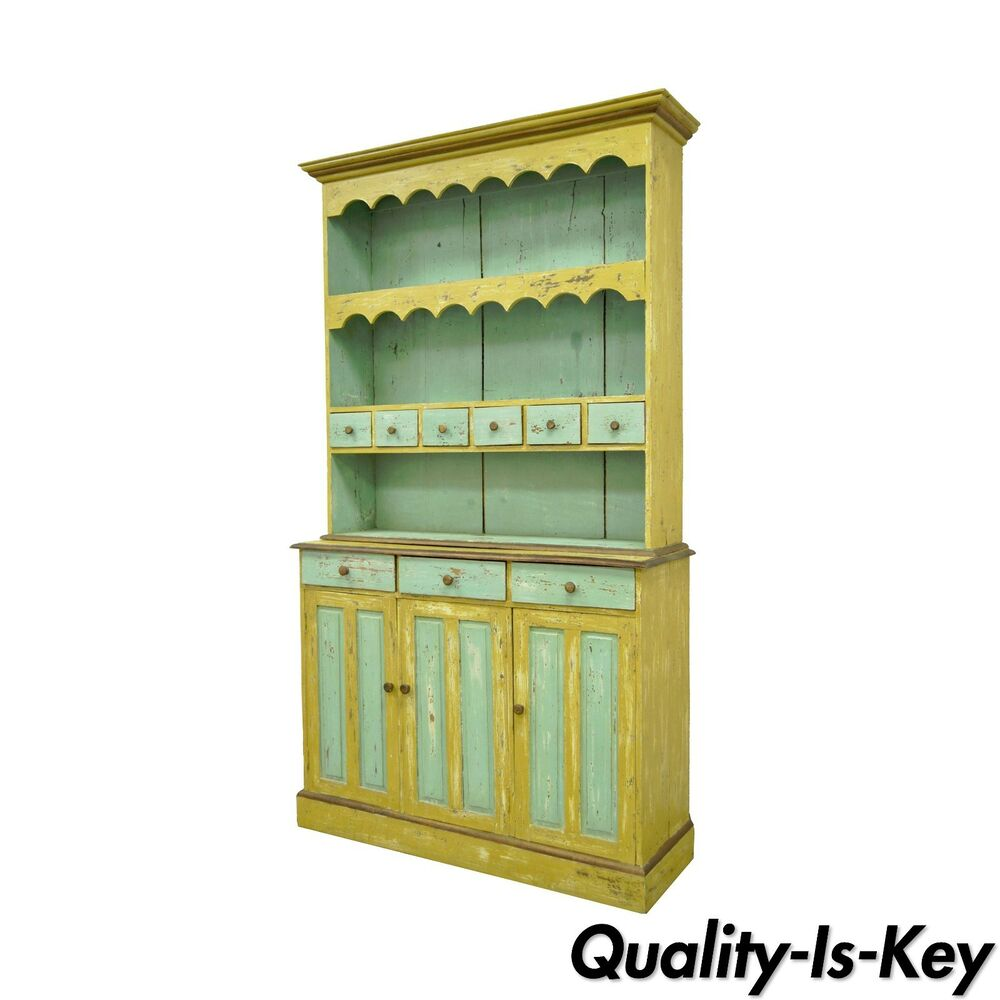 french country style shabby distress painted chic cupboard china cabinet hutch ebay. Black Bedroom Furniture Sets. Home Design Ideas