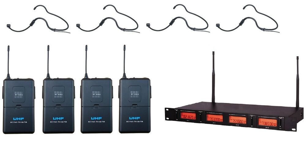 4 channel uhf wireless cordless headset microphone system for shure wireless ebay. Black Bedroom Furniture Sets. Home Design Ideas