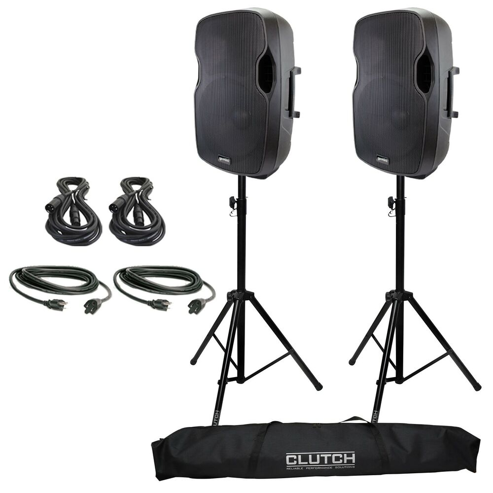 gemini as 15p 15 powered active dj pa speaker pair cables stands ebay. Black Bedroom Furniture Sets. Home Design Ideas