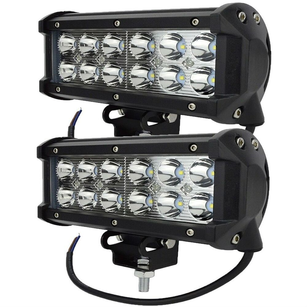 2 x 36w led work light bar flood spot beam offroad ute truck 12v 24v 3600lm qt ebay. Black Bedroom Furniture Sets. Home Design Ideas