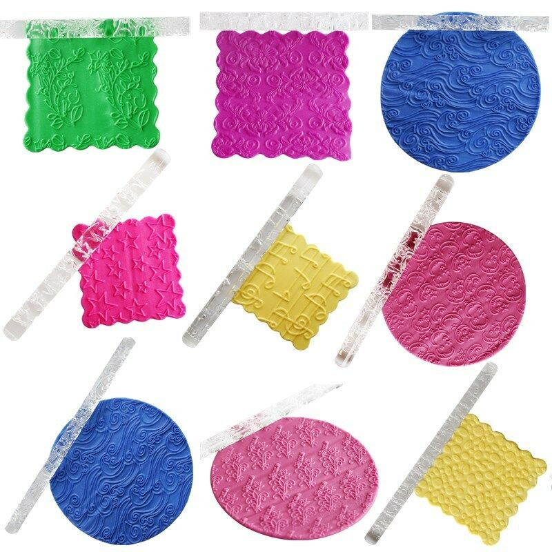 Non Stick Textured Embossing Acrylic Rolling Pin Fondant