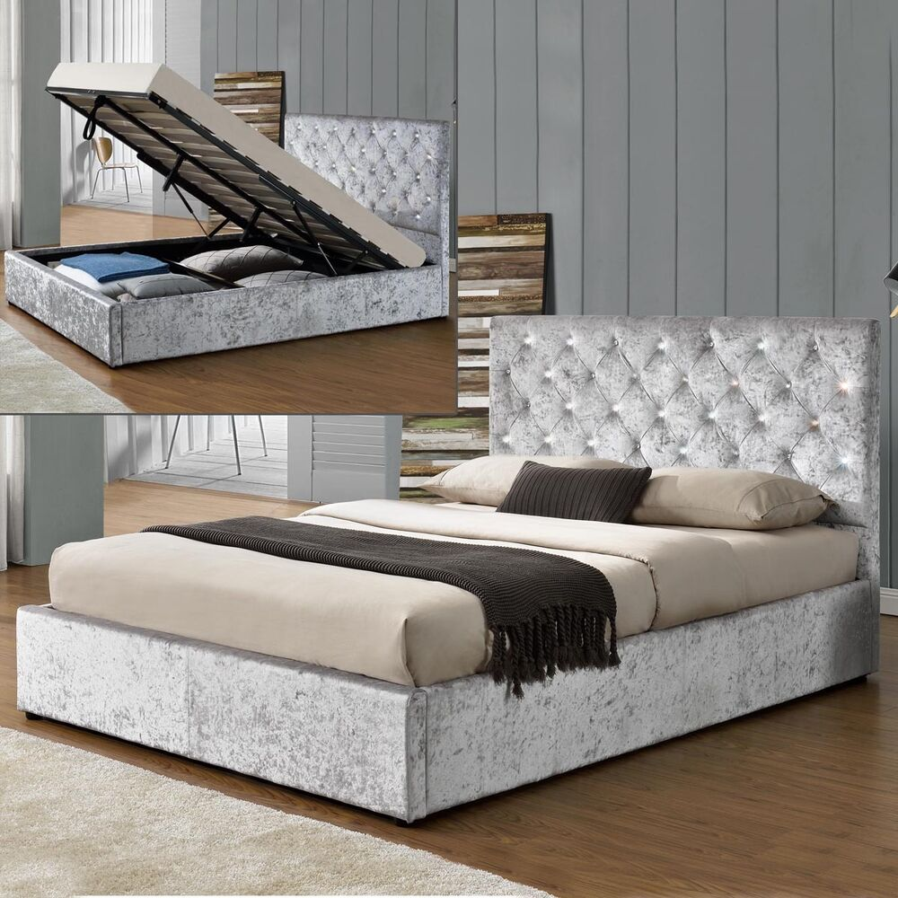 Luxury Storage Ottoman Bed Frame Silver Crushed Velvet