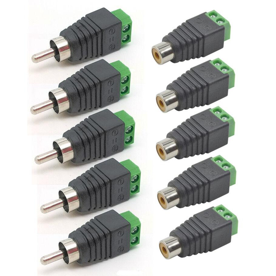 5 pairs speaker wire cable to female male rca connector adapter jack plug led ebay. Black Bedroom Furniture Sets. Home Design Ideas