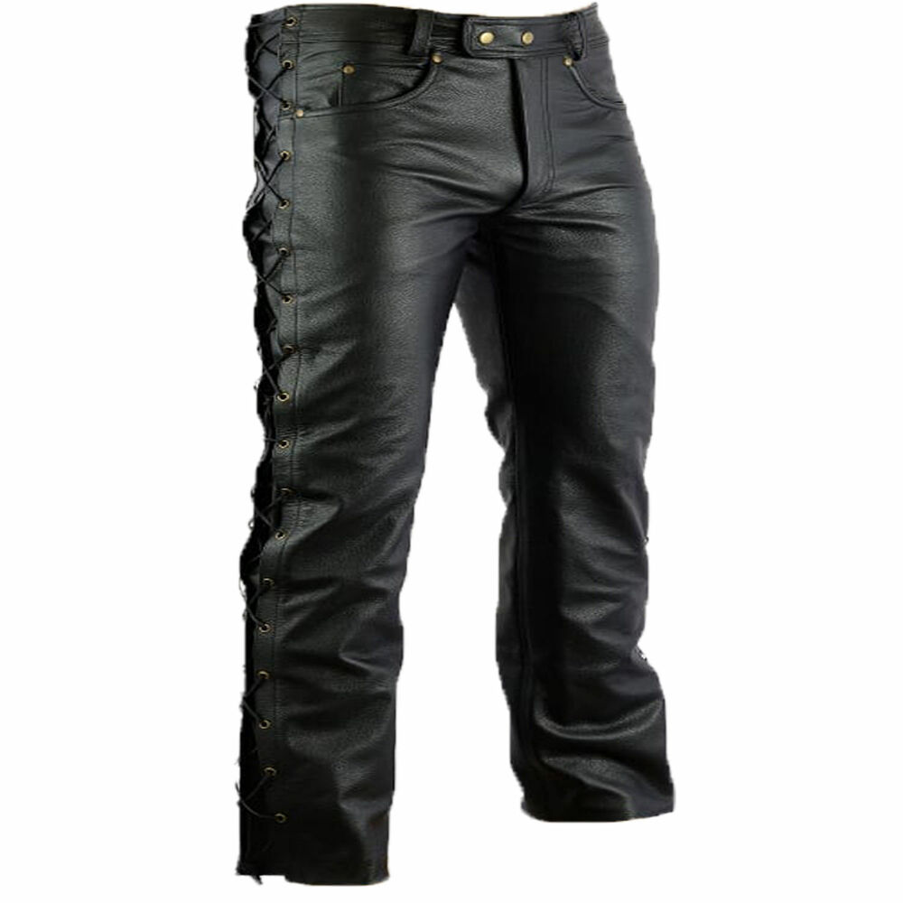 highway leather lacing jeans motorcycle trousers biker pants size 30 42 new ebay. Black Bedroom Furniture Sets. Home Design Ideas