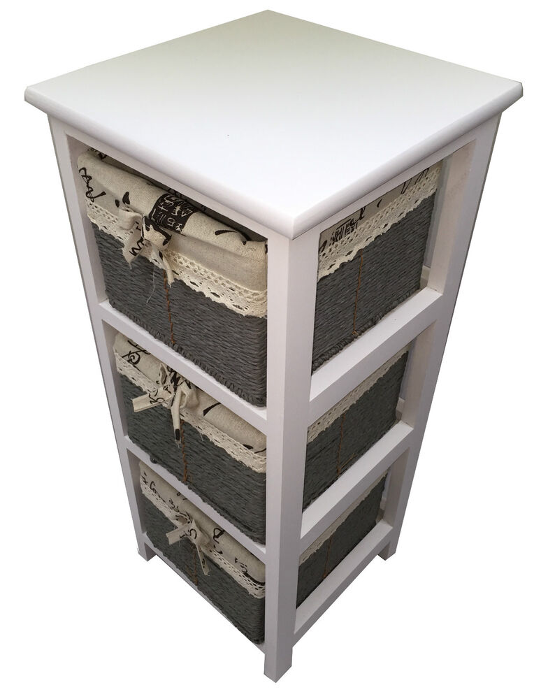 Maize Baskets Unit White Wooden Slim 3 Drawer Cabinet Storage Organiser Bathroom Ebay