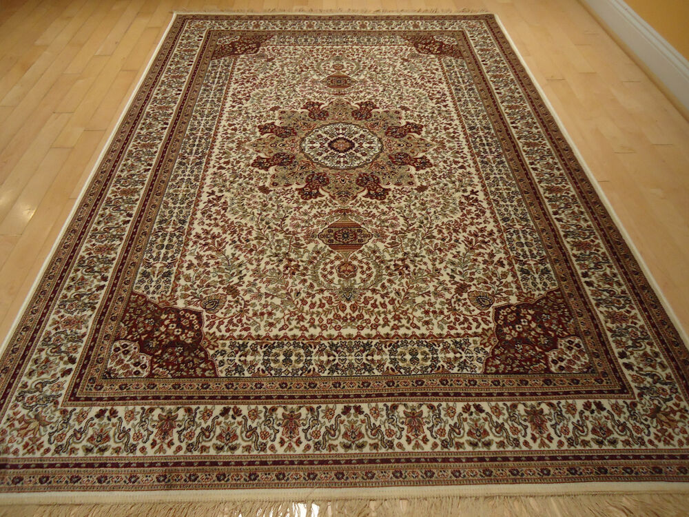 Silk Rug Persian Ivory Qumm Living Room Area Rugs 8x11