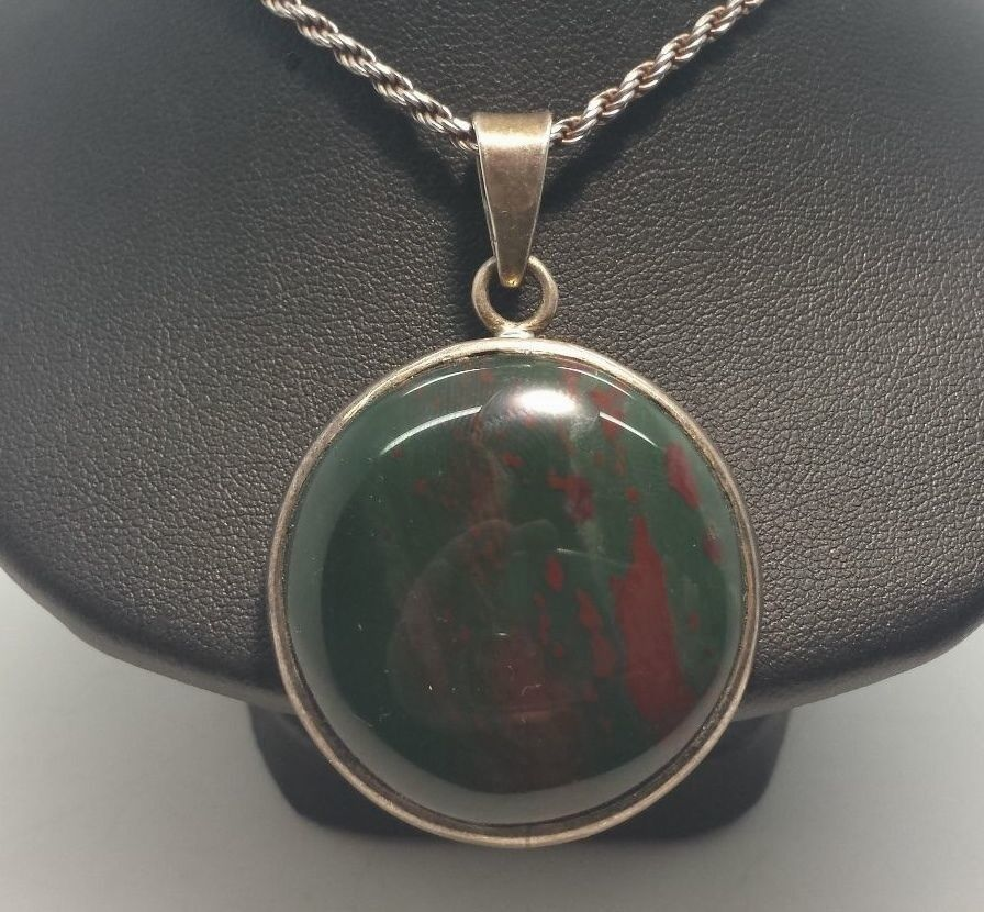 Vintage Round Red Green Stone Sterling Silver 925 Necklace ...