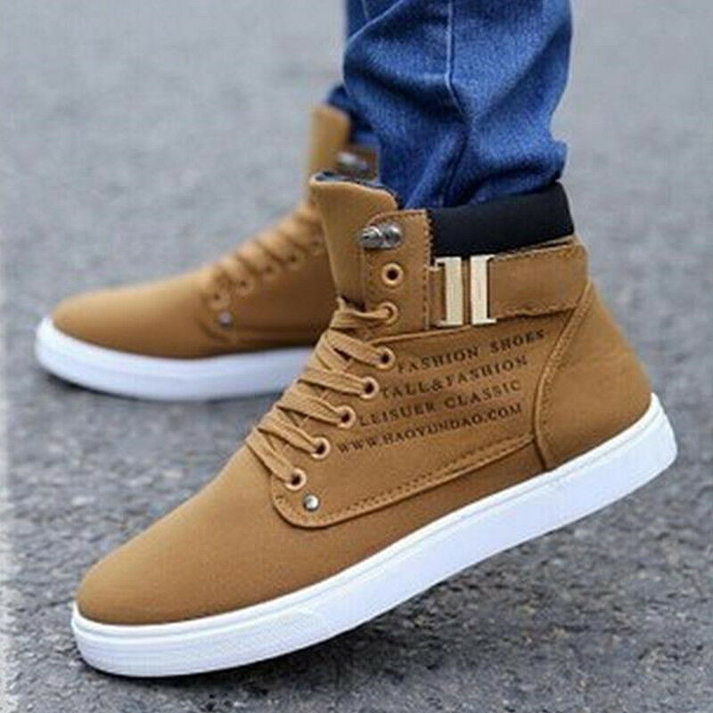 Mens Shoes Leather Casual High Top Canvas Sneakers Running Hip-hop Athletic | eBay