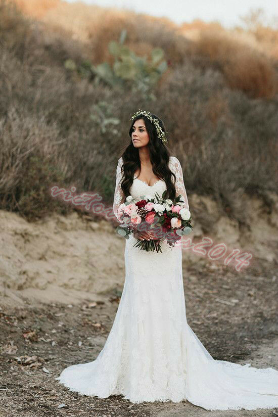 Boho white ivory lace wedding dress off the shoulder for Bohemian wedding dress shops