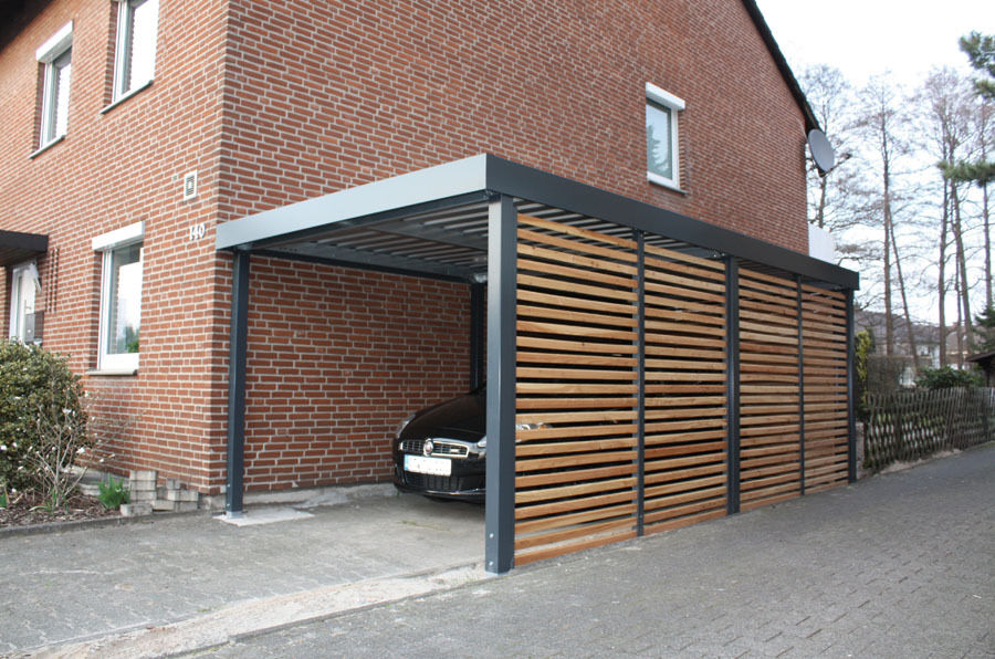 carport aus metall breite 258 x tiefe 524cm wandelemente holzlattung ebay. Black Bedroom Furniture Sets. Home Design Ideas