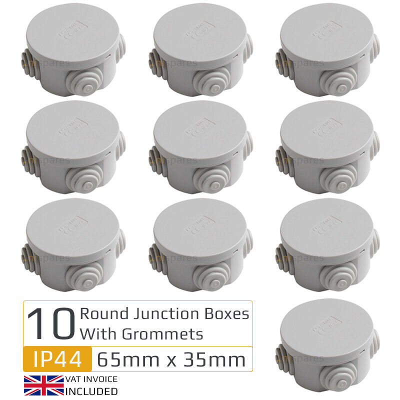 10 X Round Electric IP44 Junction Box Grommets Outdoor Waterproof 65mm