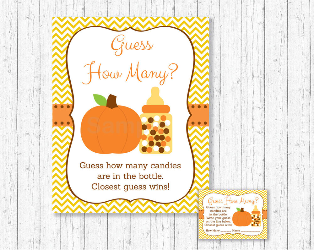 pumpkin chevron printable baby shower guess how many game cards ebay. Black Bedroom Furniture Sets. Home Design Ideas