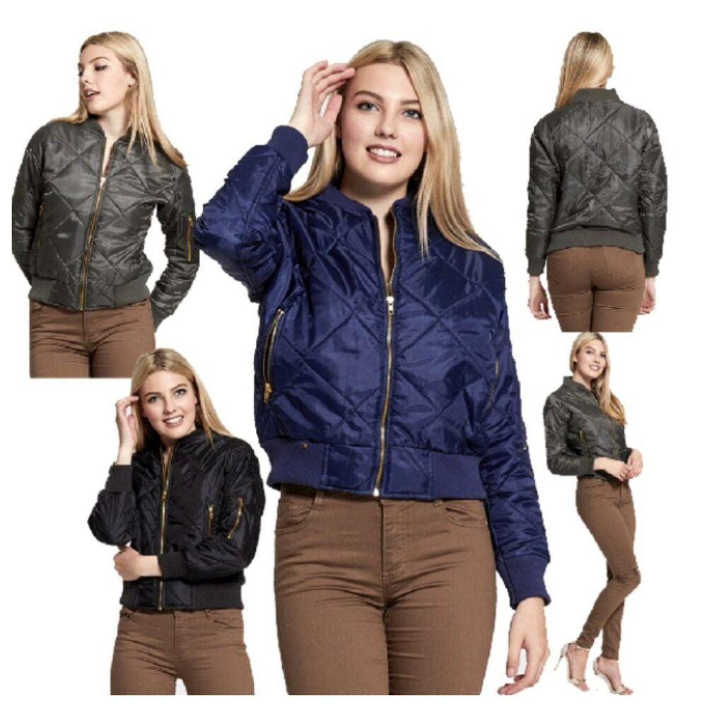 d5718fa48f346 Details about NEW WOMENS LADIES OLIVIA MA1 QUILTED BOMBER JACKET WARM  CASUAL BIKER STYLE COAT