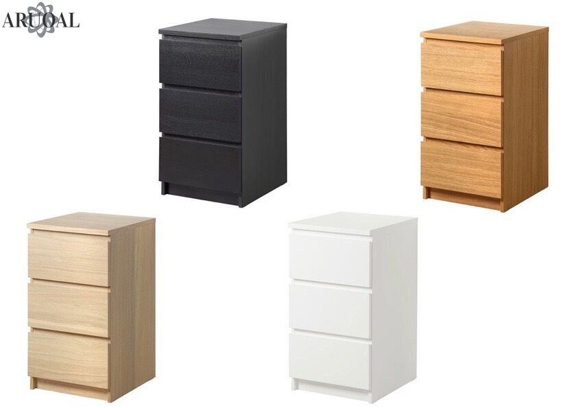 ikea malm chest of 3 drawers bedside table various colours w40 x d48 x h78 cm ebay. Black Bedroom Furniture Sets. Home Design Ideas