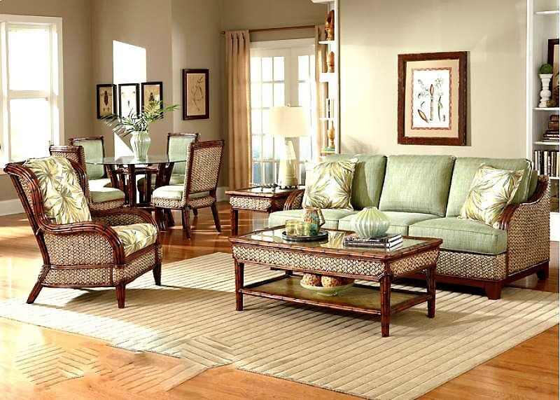 Rattan Indoor Wicker 4 Pc Living Room Set Sofa Capri Wi