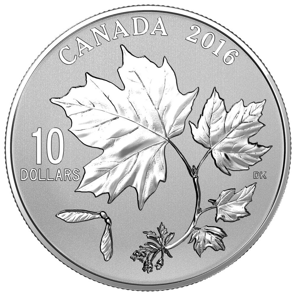 2016 10 Canadian Maple Leaves 9999 Fine Silver Coin Ebay