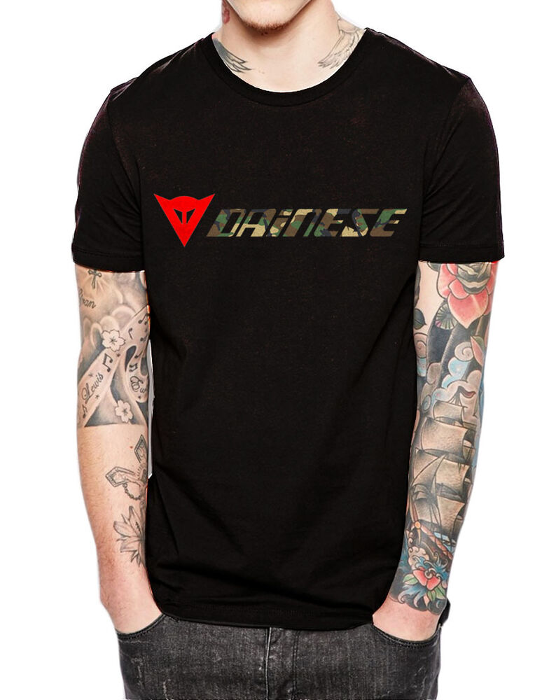 dainese camouflage logo mens black cotton t shirt s xxl. Black Bedroom Furniture Sets. Home Design Ideas