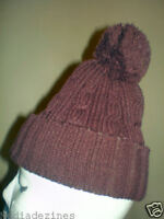 BOBBLE POM POM ROLY KNITTED BEANIE WOOLEY HAT/CAP BROWN