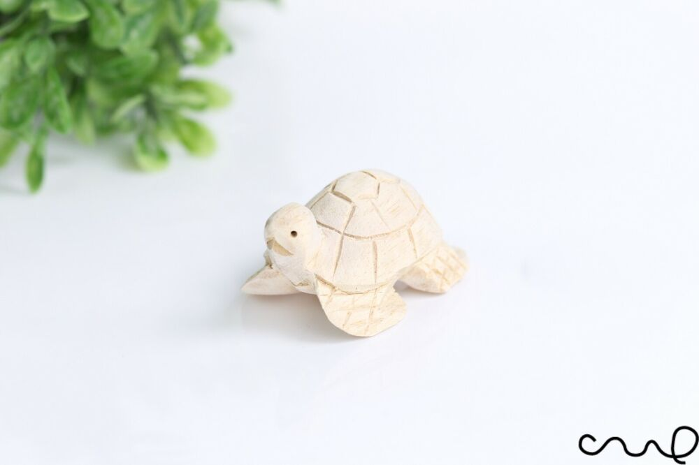 Handmade hand carved natural small wooden turtle animal