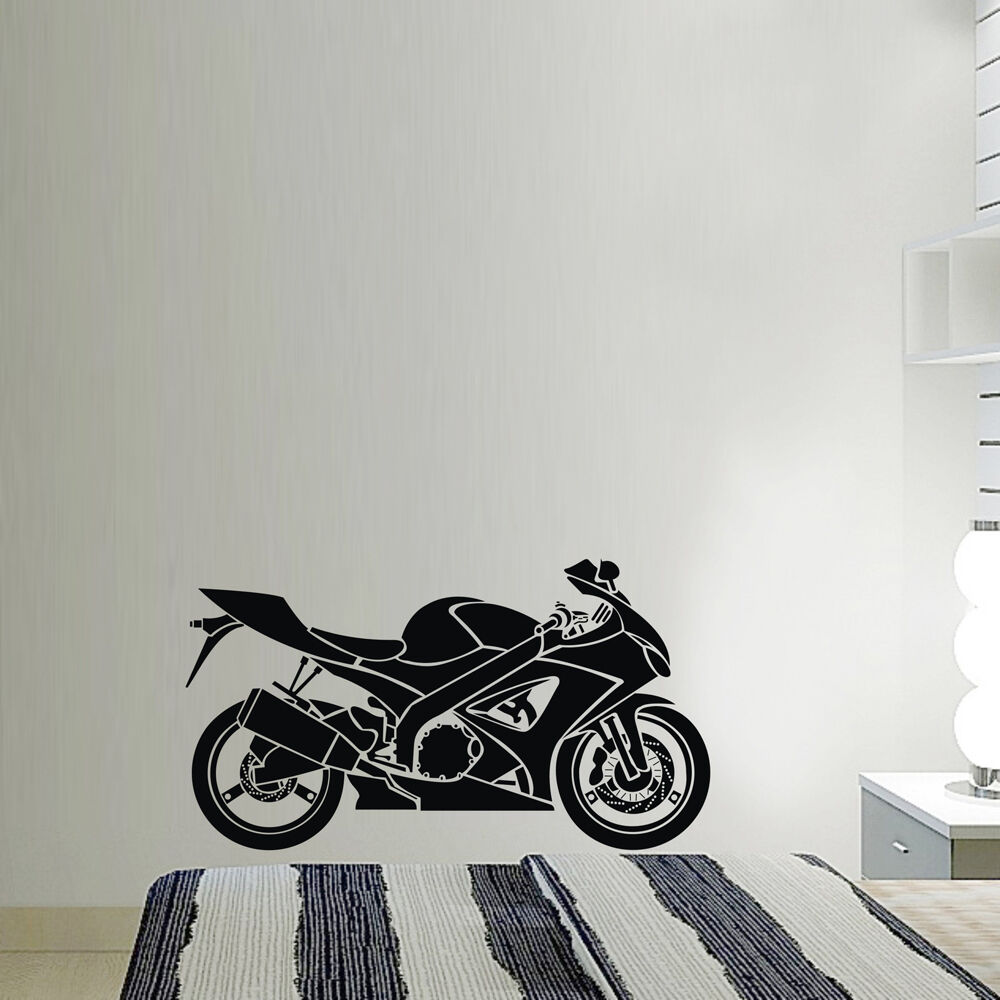 Motorcycle motorbike sports art vinyl wall sticker home for Motorcycle decorations home