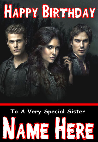 Vampire Diaries 1 Personalised Birthday Card Large A5 Size Any