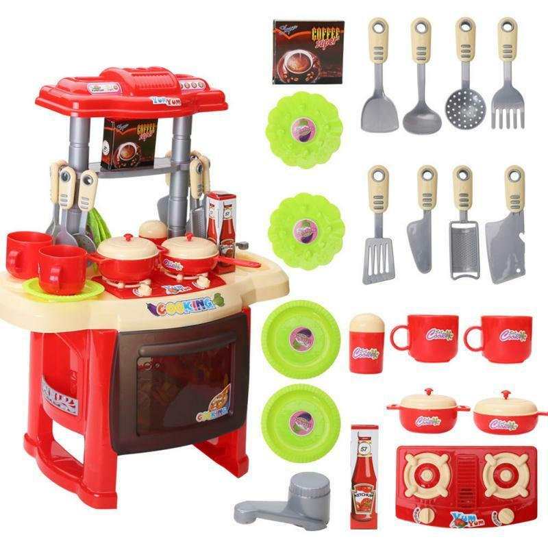 Play Cooking Toys : Deluxe children kids kitchen cooking pretend play toy set