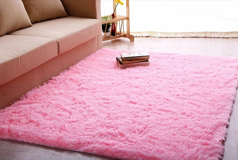 ltra soft 4 5 cm thick indoor morden area rug baby pink girls shag 4 39 x 5 39 ebay. Black Bedroom Furniture Sets. Home Design Ideas