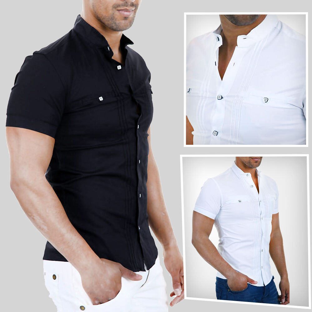 Men 39 s shirt black or white short sleeve grandad collar for Short sleeve grandad shirt